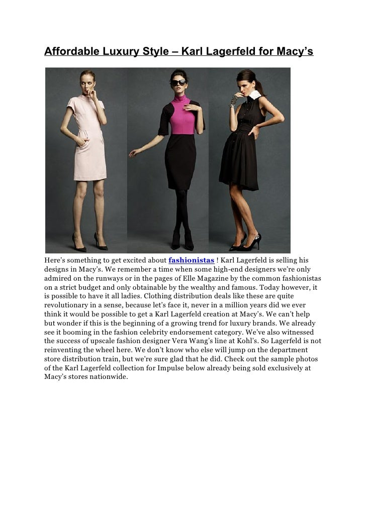 Affordable Luxury Style – Karl Lagerfeld for Macy's
