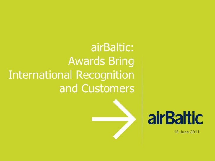Baltic PR Awards 2011: International publicity for airBaltic: