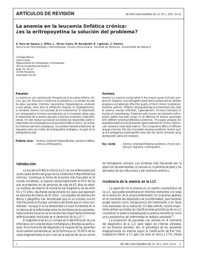 ARTÍCULOS DE REVISIÓN  La anemia en la leucemia linfática crónica:UNIVlaNAVARRA/VOLla solución del problema? REV MED ¿és e...
