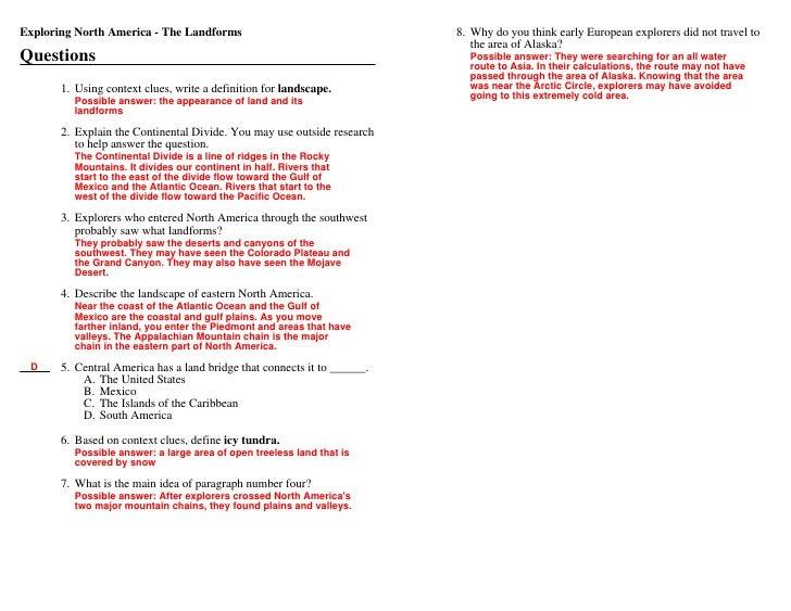 1 Answers Landforms Of North America Ed Helper