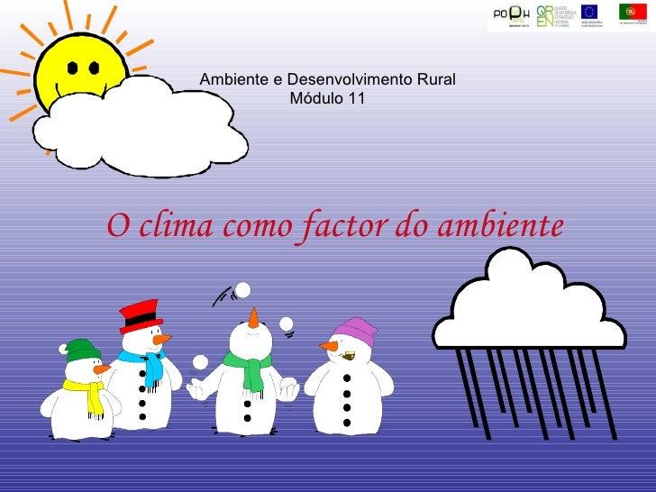 O clima como factor do ambiente Ambiente e Desenvolvimento Rural Módulo 11