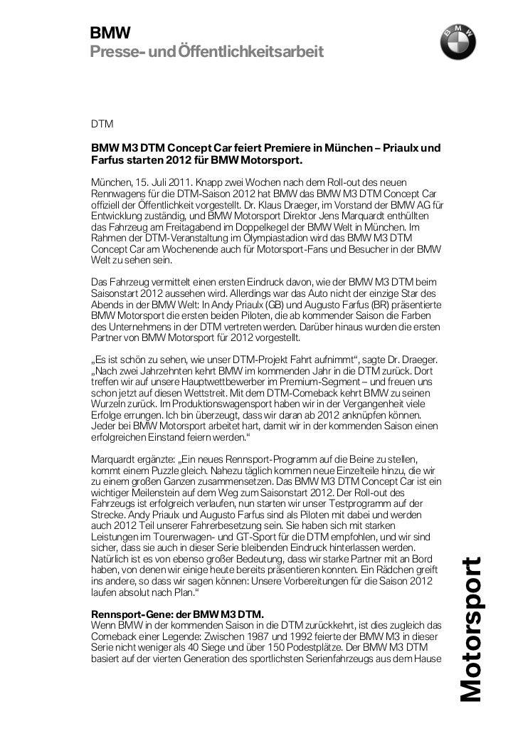 BMWPresse- und ÖffentlichkeitsarbeitDTMBMW M3 DTM Concept Car feiert Premiere in München – Priaulx undFarfus starten 2012 ...