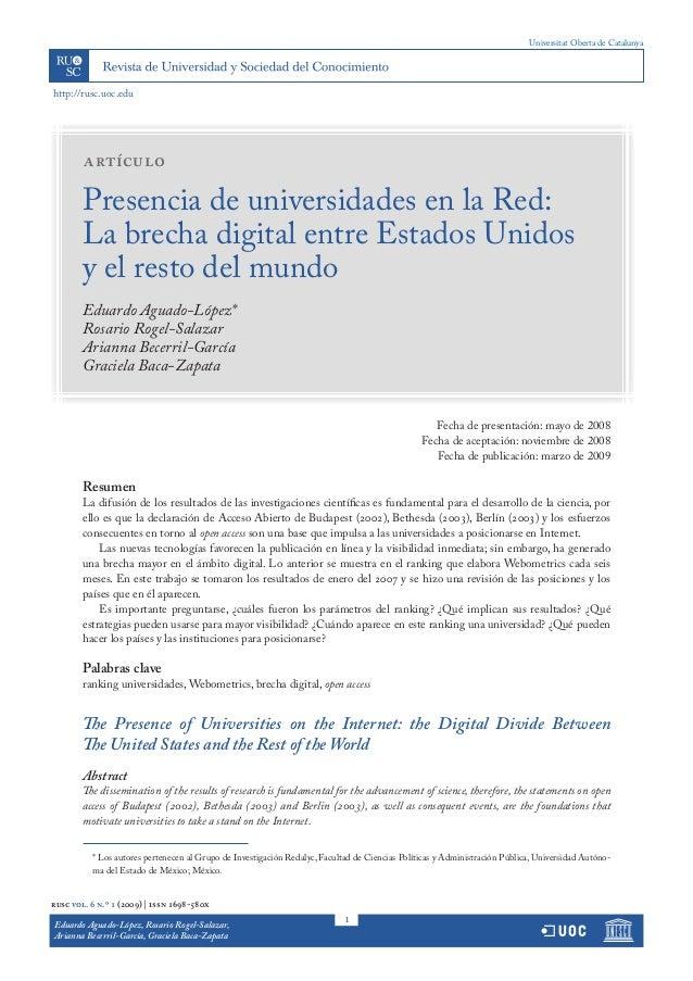 Universitat Oberta de Catalunyahttp://rusc.uoc.edu        artículo        Presencia de universidades en la Red:        La ...