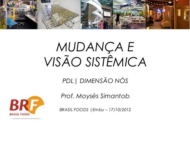 MUDANÇA EVISÃO SISTÊMICA   PDL| DIMENSÃO NÓS  Prof. Moysés Simantob  BRASIL FOODS |Embu – 17/10/2012