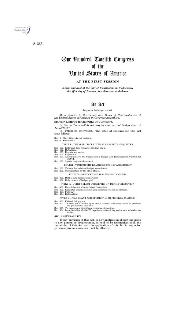 S. 365One Hundred Twelfth Congressof theUnited States of AmericaAT THE FIRST SESSIONBegun and held at the City of Washingt...