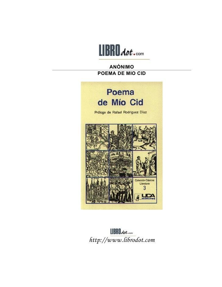 ANÓNIMO    POEMA DE MIO CID     http://www.librodot.com