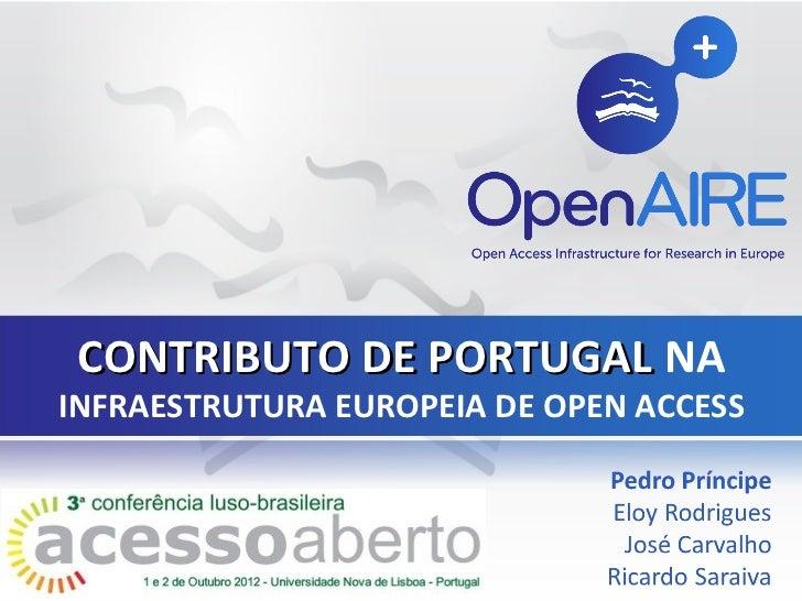 CONTRIBUTO DE PORTUGAL NAINFRAESTRUTURA EUROPEIA DE OPEN ACCESS