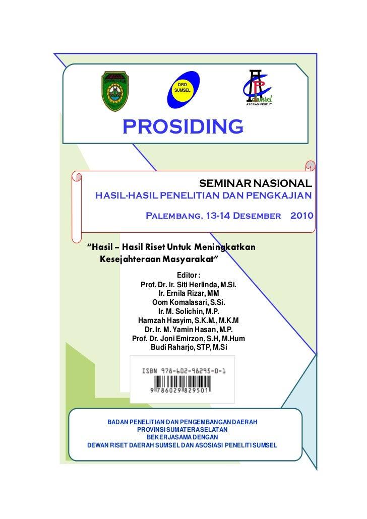 DRD                         SUMSEL         PROSIDING                                  SEMINAR NASIONAL  HASIL-HASIL PENELI...