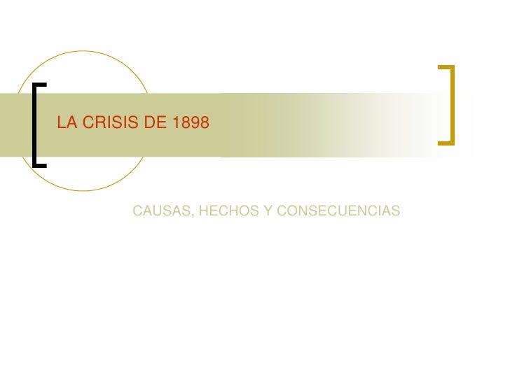 LA CRISIS DE 1898        CAUSAS, HECHOS Y CONSECUENCIAS