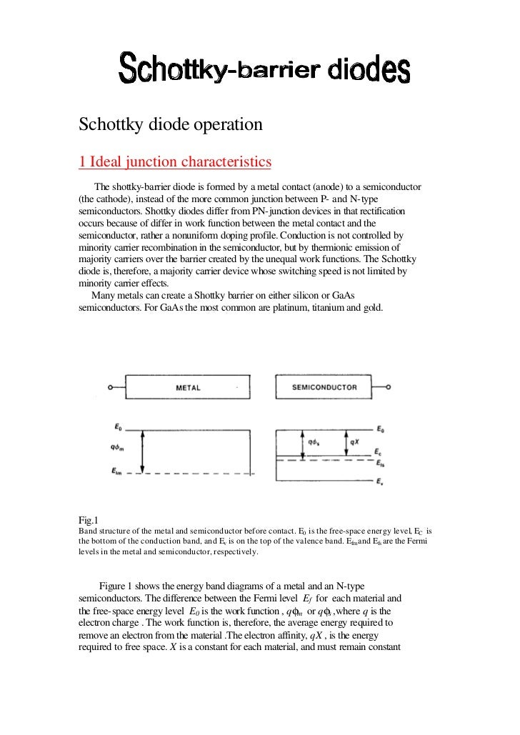 Schottky diode operation1 Ideal junction characteristics    The shottky-barrier diode is formed by a metal contact (anode)...