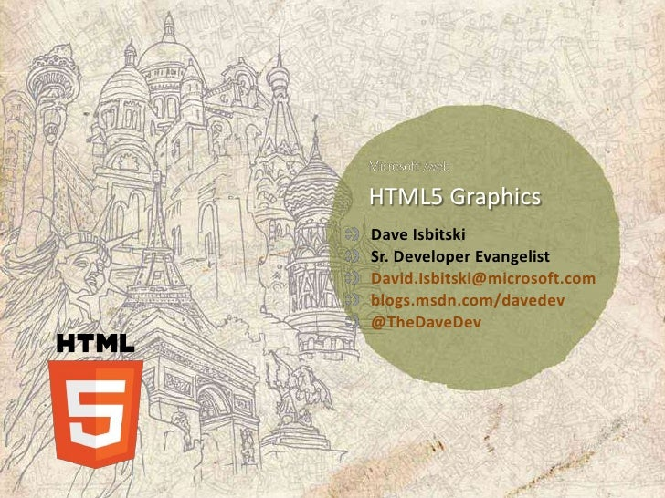 HTML5 GraphicsDave IsbitskiSr. Developer EvangelistDavid.Isbitski@microsoft.comblogs.msdn.com/davedev@TheDaveDev