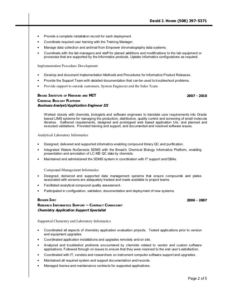 David J  Howe   Resume CV   Lab Informatics Chemist   http   www li    Do you know what to include in your Chemistry Lab Technician resume  View  hundreds of Chemistry Lab Technician resume examples to learn the best  format