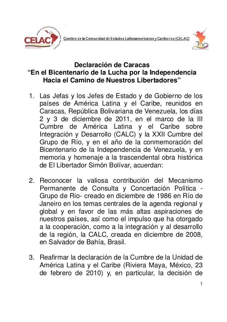 """Declaración de Caracas""""En el Bicentenario de la Lucha por la Independencia     Hacia el Camino de Nuestros Libertadores""""1...."""
