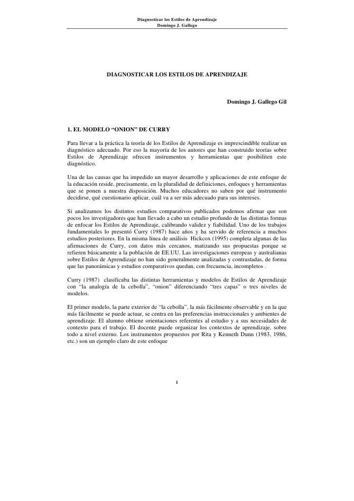 Diagnosticar los Estilos de Aprendizaje                                        Domingo J. Gallego                      DIA...