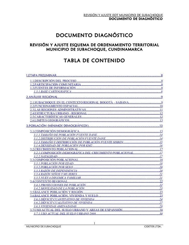 REVISIÓN Y AJUSTE ESQUEMA DE ORDENAMIENTO TERRITORIAL MUNICIPIO DE SUBACHOQUE, CUNDINAMARCA