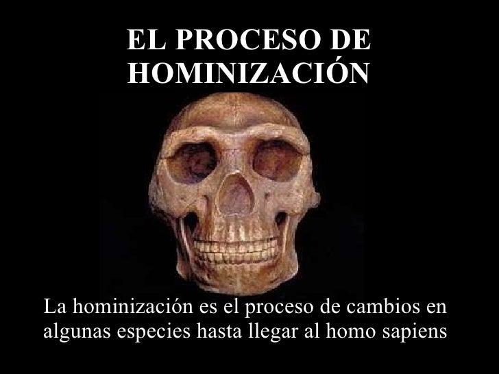 La hominización es el proceso de cambios en algunas especies hasta llegar al homo sapiens EL PROCESO DE HOMINIZACIÓN