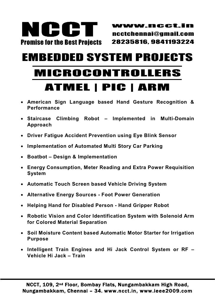 1 Embedded Project Titles, 2009   2010 Ncct Final Year Projects