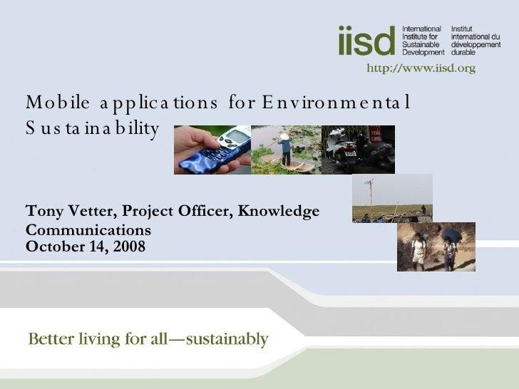 1   Environmental Sustainability Ws   Tony Vetter