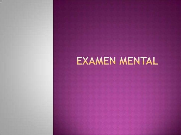 1. examen mental