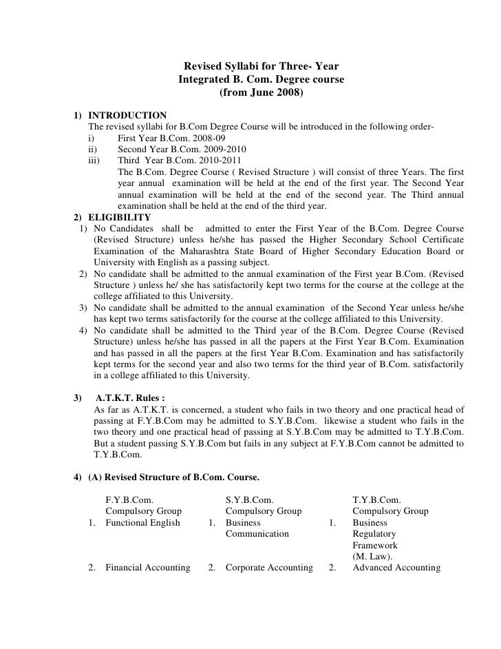 Revised Syllabi for Three- Year                           Integrated B. Com. Degree course                                ...