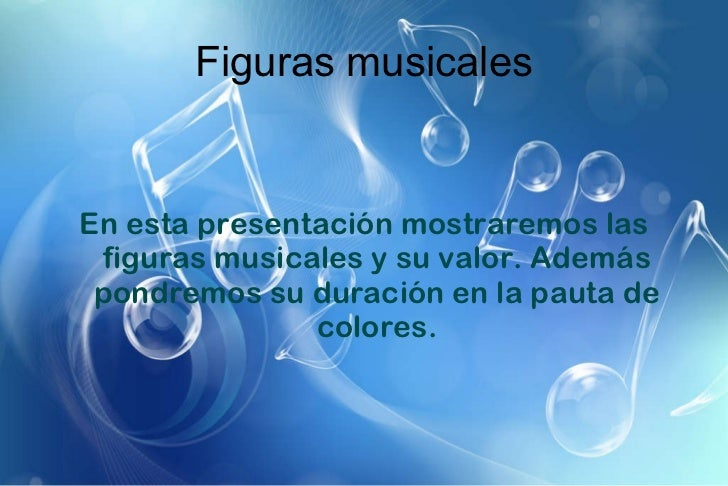 Figuras musicales En esta presentación mostraremos las figuras musicales y su valor. Además pondremos su duración en la pa...