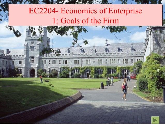 EC2204- Economics of Enterprise     1: Goals of the Firm