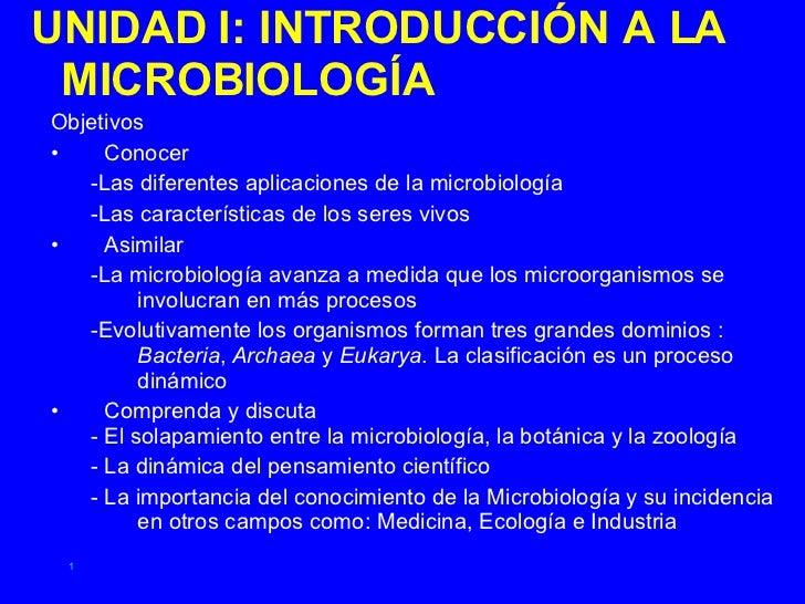 <ul><li>UNIDAD I: INTRODUCCIÓN A LA MICROBIOLOGÍA </li></ul><ul><li>Objetivos </li></ul><ul><li>Conocer </li></ul><ul><ul>...