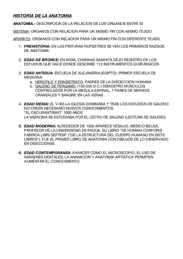 HISTORIA DE LA ANATOMIAANATOMIA.- DESCRIPCION DE LA RELACION DE LOS ORGANOS ENTRE SISISTEMA: ORGANOS CON RELACION PARA UN ...