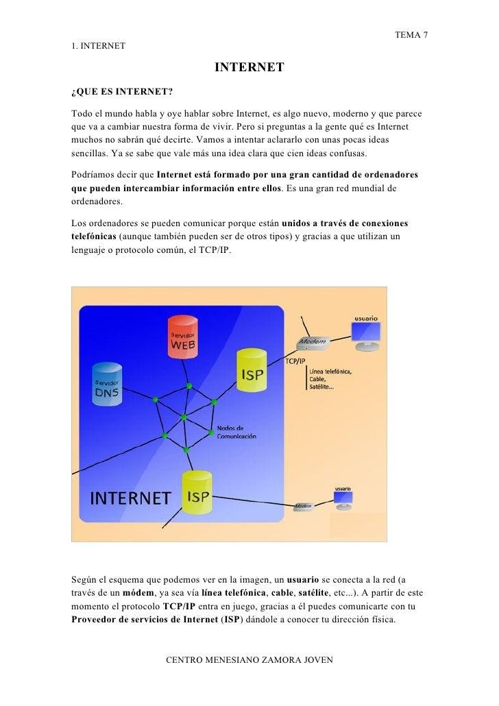 TEMA 7 1. INTERNET                                       INTERNET ¿QUE ES INTERNET?  Todo el mundo habla y oye hablar sobr...