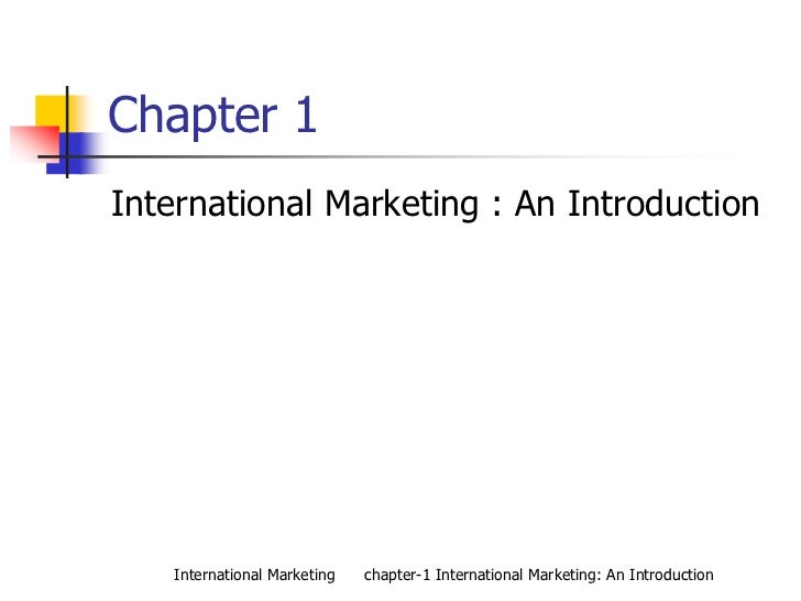 International Marketing: international Marketing Introduction
