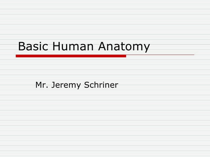 Basic Human Anatomy Mr. Jeremy Schriner