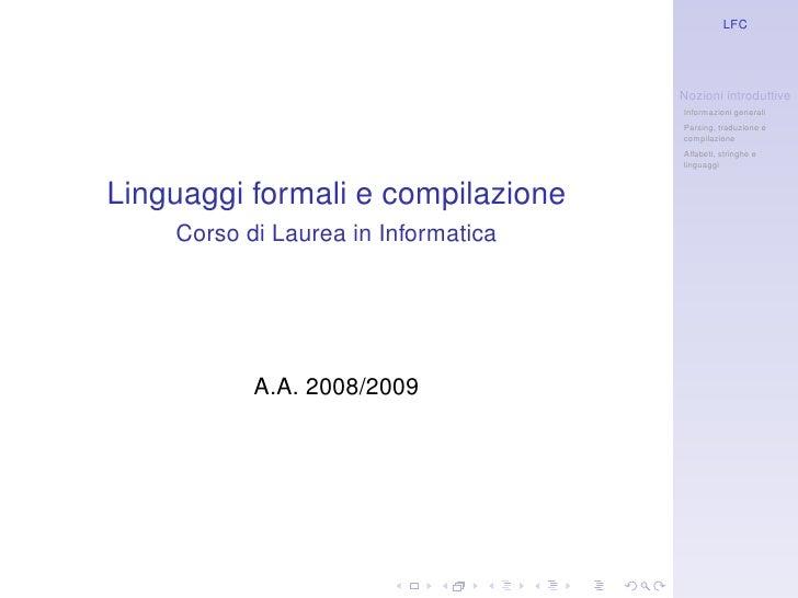 LFC                                          Nozioni introduttive                                      Informazioni genera...