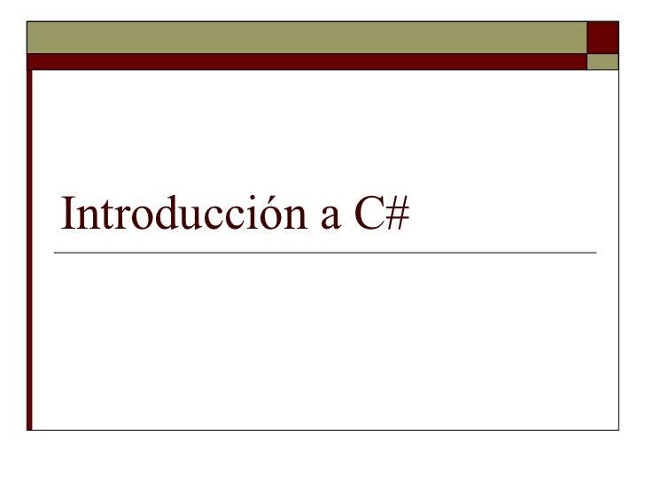 1.  introducción a c#