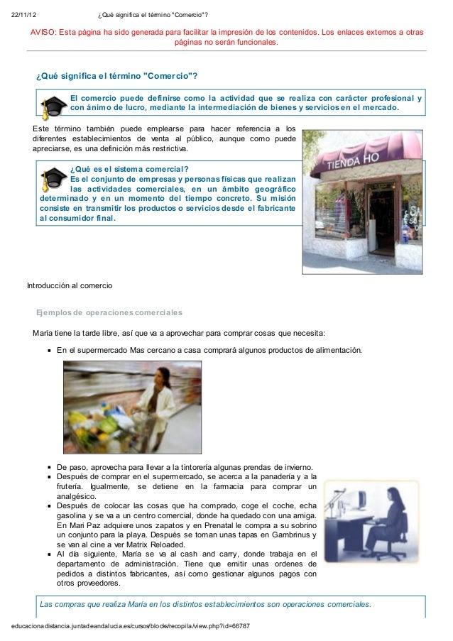 """22/11/12                     ¿Qué significa el término """"Comercio""""?      AVISO: Esta página ha sido generada para facilitar..."""
