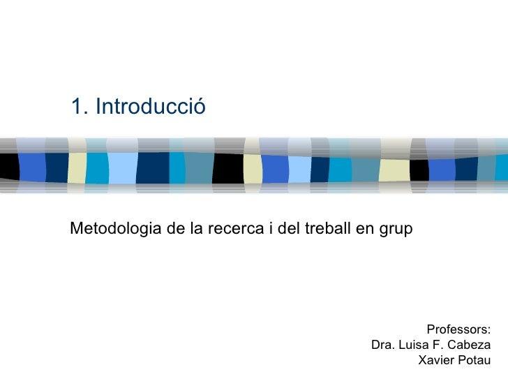 1. Introducció Metodologia de la recerca i del treball en grup Professors: Dra. Luisa F. Cabeza Xavier Potau