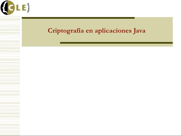 Criptografía en aplicaciones Java