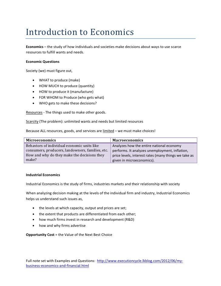 1   introduction to economics