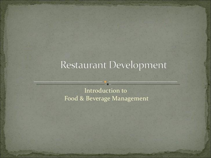 Introduction toFood & Beverage Management