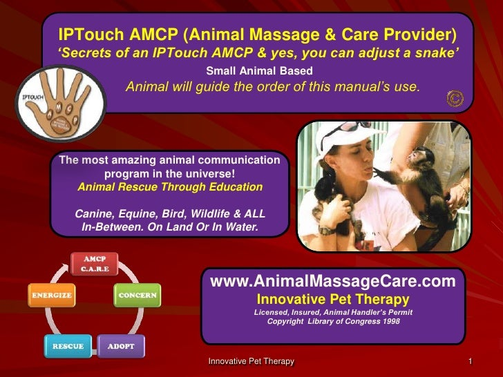 IPTouch AMCP (Animal Massage & Care Provider) 'Secrets of an IPTouch AMCP & yes, you can adjust a snake'Small Animal Based...