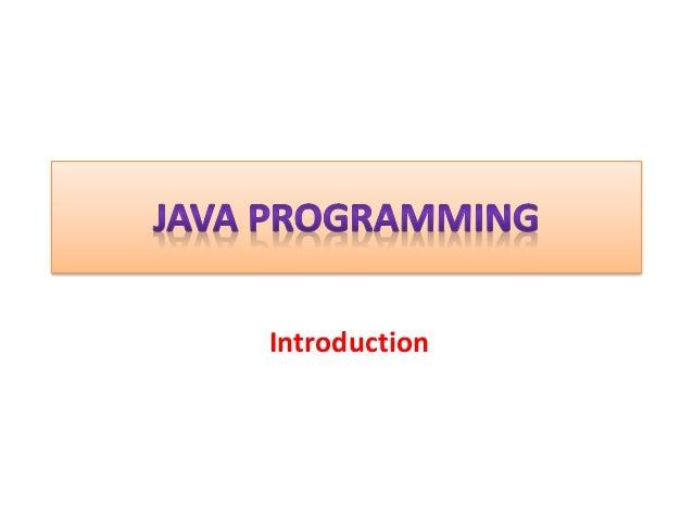 1  java programming- introduction