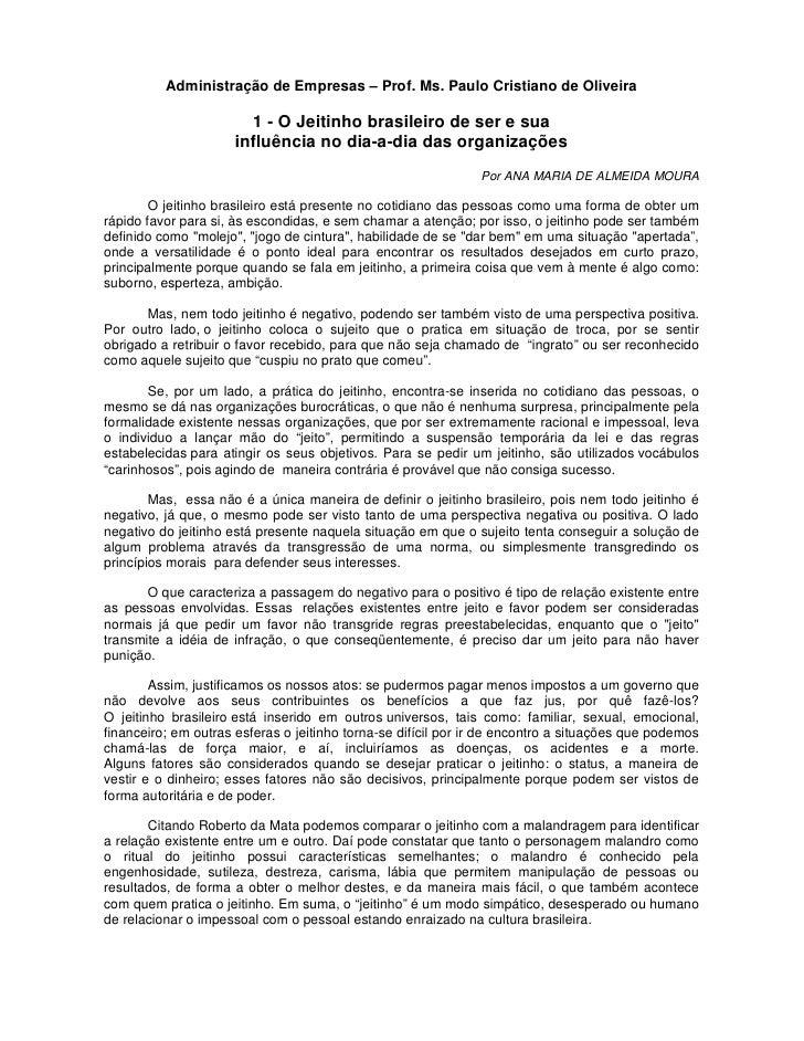 Administração de Empresas – Prof. Ms. Paulo Cristiano de Oliveira                        1 - O Jeitinho brasileiro de ser ...