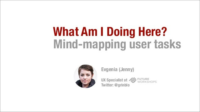 What Am I Doing Here?Mind-mapping user tasksEvgenia (Jenny)UX Specialist atTwitter: @grinblo