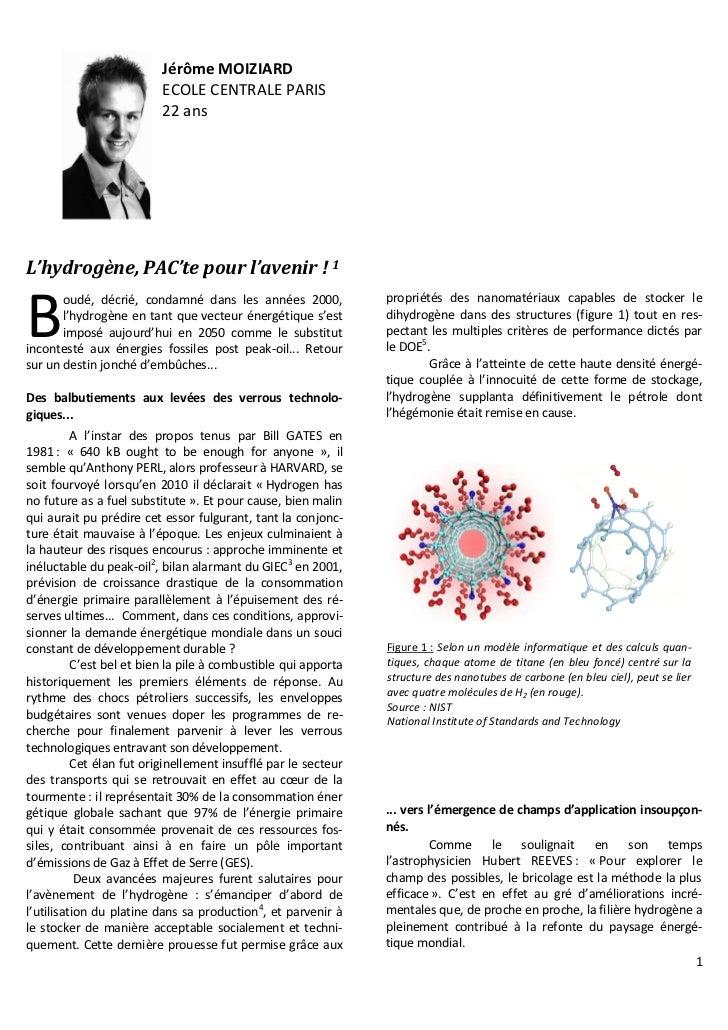 Jérôme MOIZIARD                          ECOLE CENTRALE PARIS                          22 ansL'hydrogène, PAC'te pour l'av...