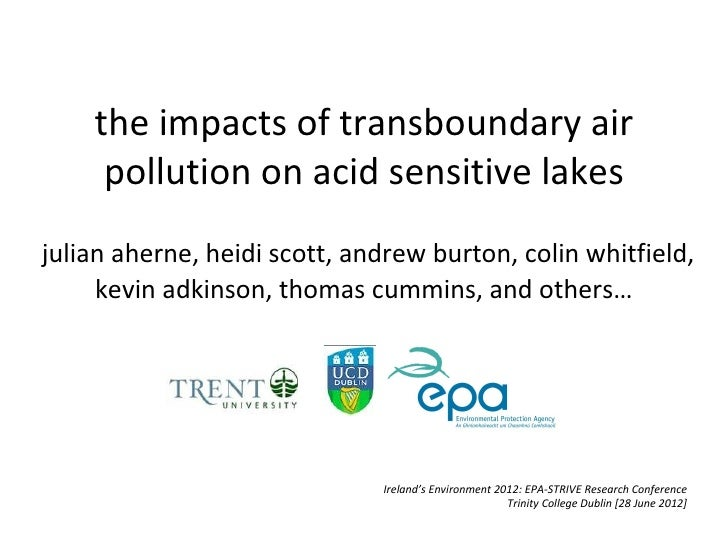 The impacts of TXB Pollution on acid sensitive lake -.Julian Aherne