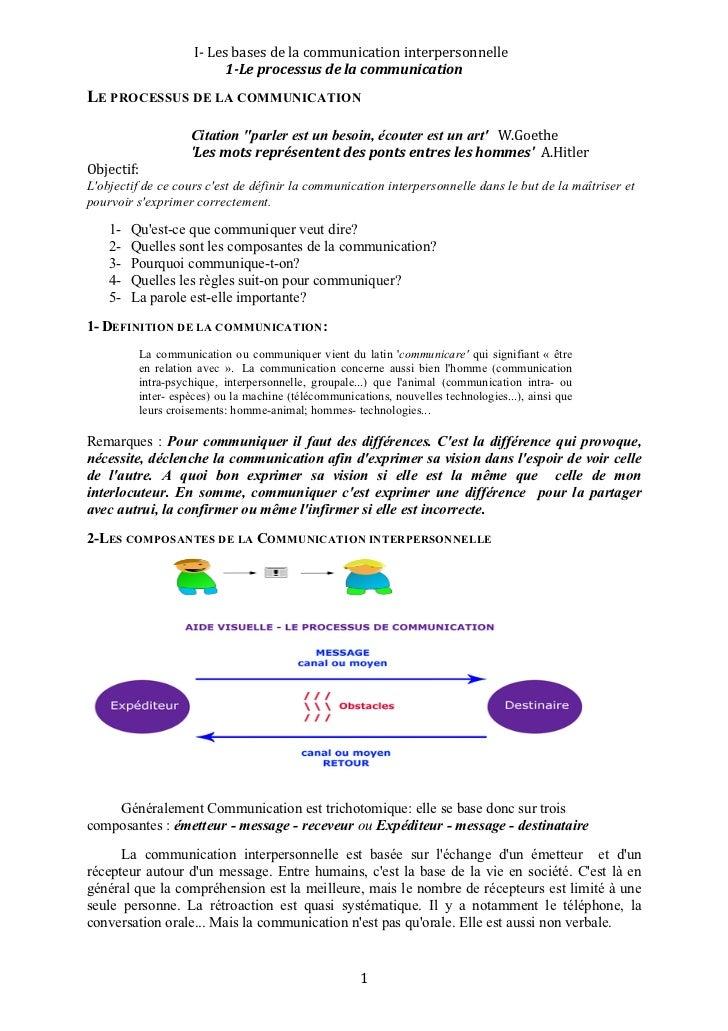 I‐Lesbasesdelacommunicationinterpersonnelle                           1LeprocessusdelacommunicationLE PROCES...