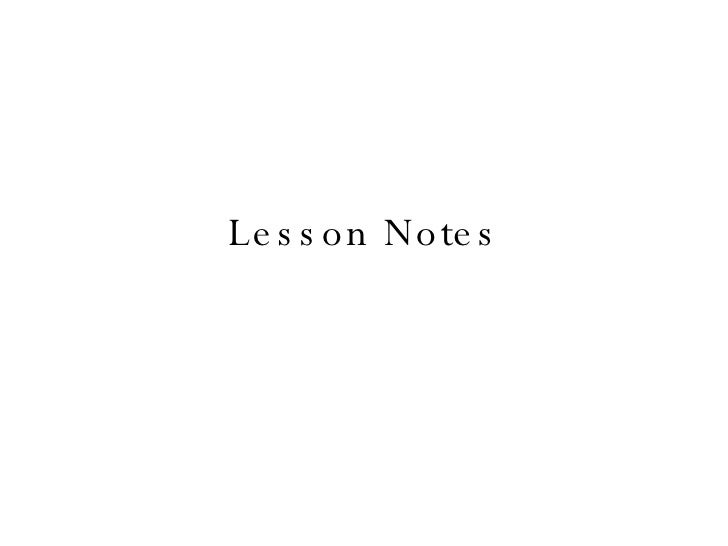 1 Lesson Notes
