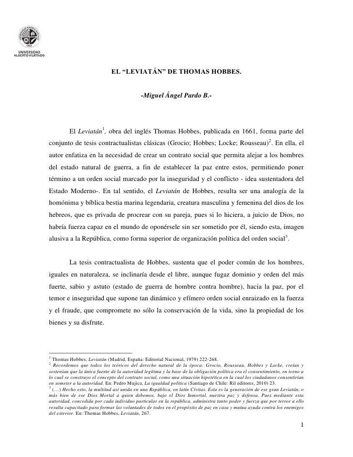 """EL """"LEVIATÁN"""" DE THOMAS HOBBES.                                            -Miguel Ángel Pardo B.-         El Leviatán1, o..."""