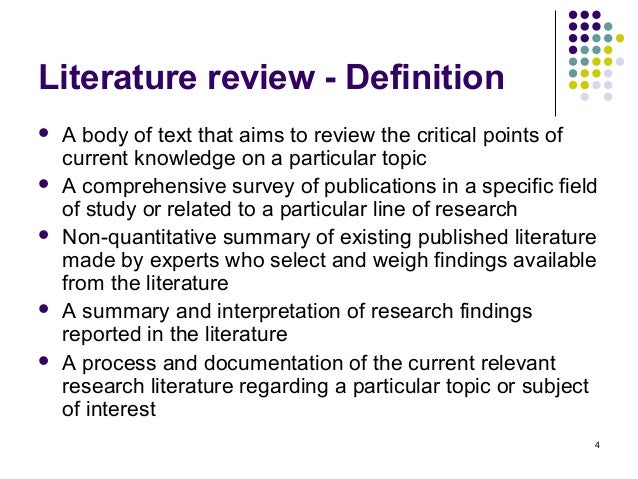 Aim of critical literature review