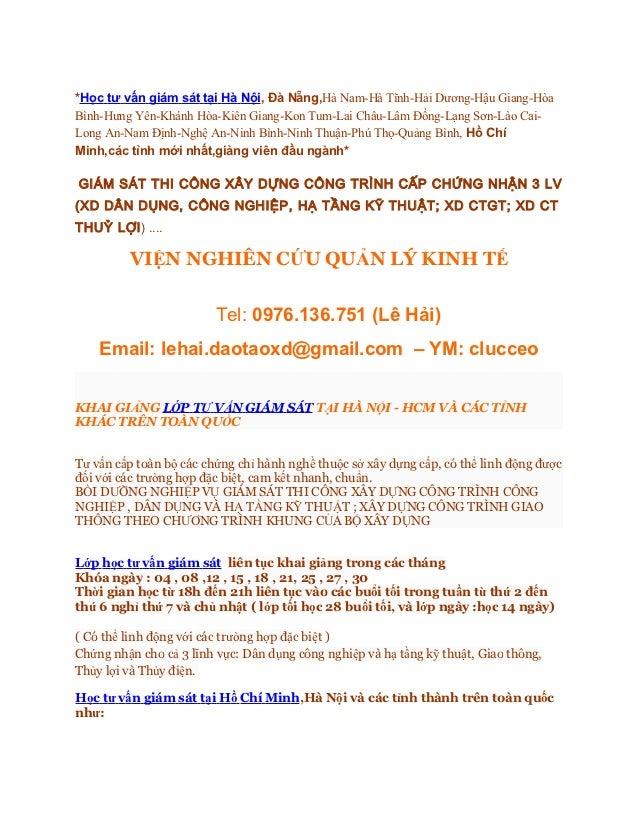 Học tư vấn giám sát tại Hồ Chí Minh,Hà Nội,Huế,Hải Phòng,Cần Thơ mới nhất