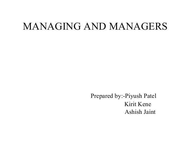 Managing and Managers